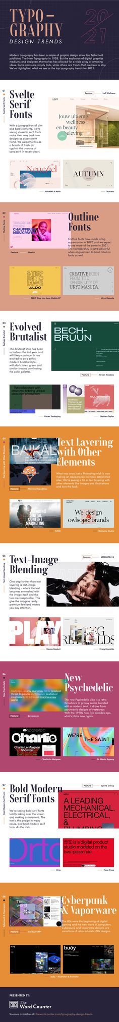 Typography Design Trends 2021 Type Design, Logo Design, Graphic Design, Psychedelic Typography, Modern Serif Fonts, Visual Hierarchy, Small Business Trends, Retro Font, Retro Futuristic