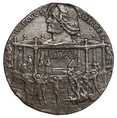 Bertoldo di Giovanni, Commemoration medal for the Pazzi conspiracy, 1478; this is the recto, showing Giuliano de' Medici's murder