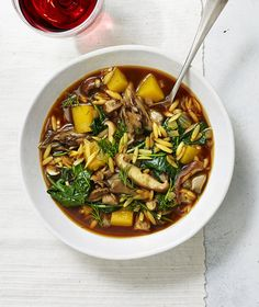 Squash, Mushroom, and Kale Soup With Dill | This flavorful, veggie-packed soup comes together in just 30 minutes. Freeze leftovers, and then re-heat throughout the week.