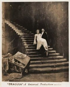 """This incredible DRACULA (Universal, key-book portrait photo features Bela Lugosi and Helen Chandler. print of Bela Lugosi as """"Count Dracula"""" carrying Helen Chandler """"Mina"""" down a cobweb-strewn castle staircase. Classic Monster Movies, Classic Horror Movies, Classic Monsters, Arte Horror, Horror Art, Scary Movies, Old Movies, Comedy Movies, Vintage Movies"""