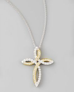 Valencia 18k White & Yellow Gold Diamond Cross Necklace by Frederic Sage at Neiman Marcus.  #fredericsage
