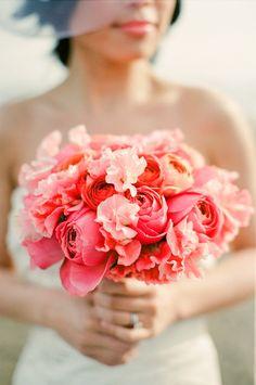 Coral bouquet #pastel #coral #peach #wedding