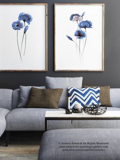 Set of 2, Abstract Blue Flowers, Poppies Watercolor Painting, Poppy Wall Art Home Decor Floral Print