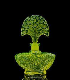 Bohemian Czech Art Deco Vaseline Glass Perfume Bottle Flower Signed Pesnicak | eBay