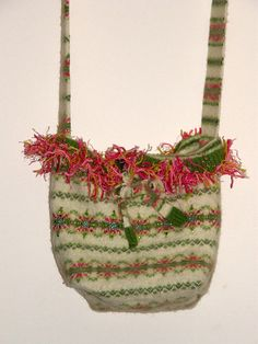 Upcycled pink Green Bag Felted sweater Bag hand sewn  by mcleodhandcraftgifts,