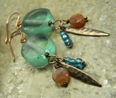 Aqua Recycled Glass Earrings Sunstone Copper via Etsy.