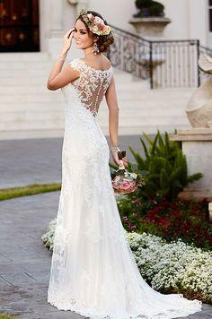 Beautiful lace wedding dress with chic illusion back detail. Stella York, Fall 2015
