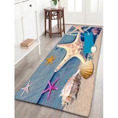 Skidproof Flannel Wood Grain Beach Starfish Rug