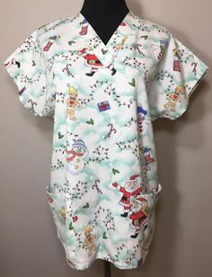 Christmas Scrub Top M Simply Basic Santa Gingerbread Snowman Holiday Stocking #SimplyBasic