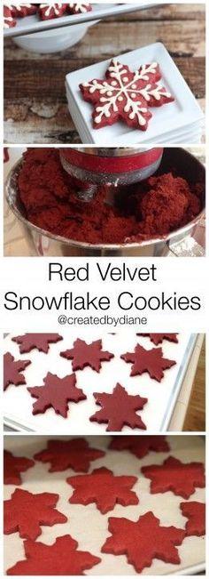 Red Velvet Snowflake Cookies @createdbydiane #winter #Christmas #redvelvet