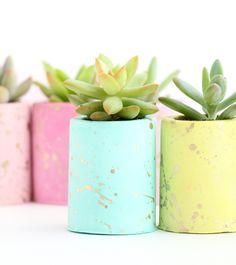 Gold Splatter Succulent Planters - DIY Gift ideas - gift idea homemade - Target
