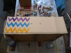 French Provincial Dresser, Rainbow Chevron, Toy Chest, Storage Chest, Upcycle, Stripes, Toys, Home Decor, Activity Toys