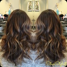 Warm ombre highlights I did in long wavy brunette hair! #balayage #babylights