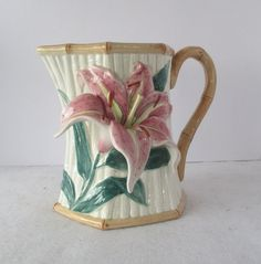 Stargazer Lily Pitcher 1.5 Qt Fritz and Floyd by HobbitHouse