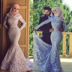 2015 Plus Size Evening Dresses Long Sleeve Muslim Arabic Lavender Lace High Neck Sash Sweep Train Vintage Celebrity Formal Dress Prom Gowns Online with $155.92/Piece on Sweet-life's Store | DHgate.com