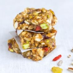 Sticky Nut Bars with peanut butter and dried fruit. No sugar added!