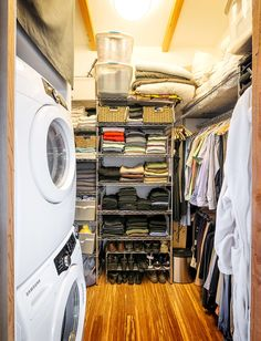 """Putting away clean laundry is faster and easier with the washer and dryer in the clothes closet"""