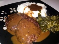 "Country Salisbury steak! ""Came out great! Added a bit of extra seasoning, and covered with brown gravy. Delicious!""  @allthecooks #recipe #beef #dinner #steak #easy #hot"