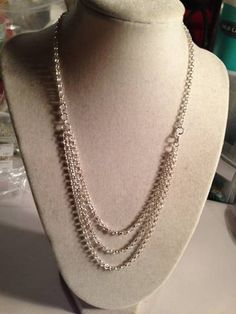 Chain Necklace Silver Necklace Triple Strand Chain by cdjali, $25.00