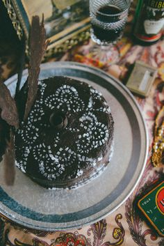 Such a beautiful Flapper Inspired Red Wine & Raspberry Chocolate Cake // www.WithTheGrains.com @withthegrains