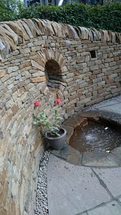 Dry stone wall and garden
