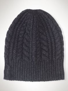 9aa6e5f6bd5 Aran-Knit Cashmere Skull Cap - Black Label Hats - RalphLauren.com Knit  Fashion