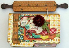 recipe mini - photo of cover only; using a small wooden rolling pin cut in half - this is cute inspiration for gifts