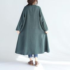 Loose Irregular Casual Linen Women Splicing Green Coat - Buykud
