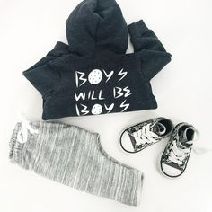 "Little Adi + Co | ""Boys Will Be Boys"" Fleece Hoodie + Space-dyed Easy Pants 