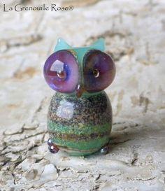 Handmade lampwork glass Owl
