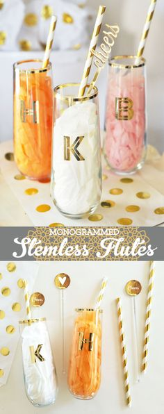 Stemless Champagne Flutes make the perfect Bridesmaid Gift Ideas for your stylish friends! These metallic gold Monogram Glasses are perfect to use at bridal showers, bachelorette parties, or the morning of the wedding! Glasses can double as seating cards & drinking glasses! Your girls will love these and use them well beyond the wedding day - they also make the perfect gift of toasting glasses for the Mr. & Mrs. or give a set as a housewarming gift for the newlyweds with their new mon...