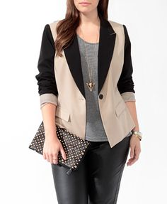 Contrast Cutaway Blazer | FOREVER21 PLUS - 2000049292  Tuxedo Blazers are one of this years hottest Fashions, grab this one for only $32.80 at Forever21 (plus sizes) :)