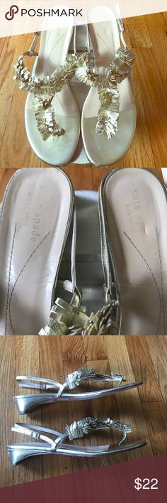 "Gold kate spade sandals Gold Kate spade leather sandals in size 10 B. Scratch on heel of right shoe and a few scratches in the leather at the toes. Tried to capture imperfections in photos. About 1"" kitten heel .Otherwise great condition and really cute! kate spade Shoes Sandals"