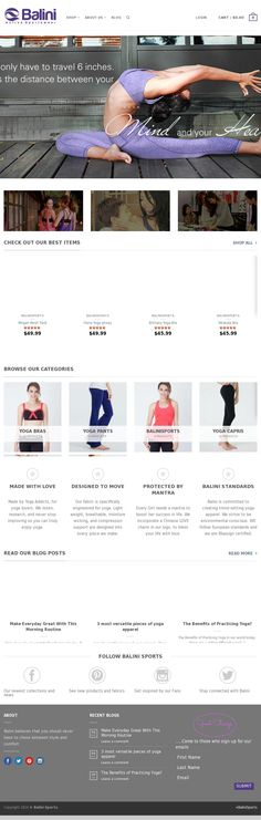 The website 'BaliniSports.com' - Bluesign eco friendly yoga apparel. For more info, check out BaliniSports.com