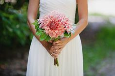 Bright dahlias give a single-flower bouquet modern flair.