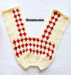 TUNUS İŞİ PATİKLER 5 ŞİŞ GÖRÜNÜMLÜ | Nazarca.com Crochet Socks, Bead Crochet, Crochet Accessories, Baby Booties, Diy And Crafts, Blanket, Beads, Tunisian Crochet, Decorated Flip Flops