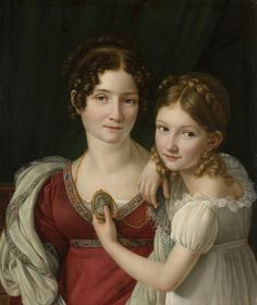 Henri-Francois Riesener 1767-1828 Portrait of A Mother and Daughter