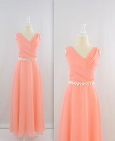 Vintage 1970s Chiffon A Line Formal Dress in Peach  by TwoMoxie, $80.00