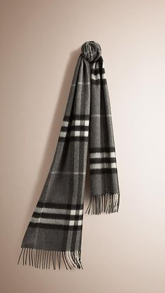 Mid grey The Classic Cashmere Scarf in Check -  1