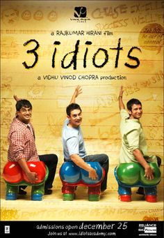 3 Idiots (2009): This movie has very strong storyline and message for all ages. It is an exceptional movie with full of substances that you'd wish in a movie. The Story revolves around 3 roommates, their college life, happiness and sadness, losses etc. 3 Idiots says one simple thing - Chase your dreams, demolish your fears and try your best - Success is a given. #movie #bollywood