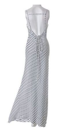 Love the Back! Sexy Plunging Neck Sleeveless Striped Self Tie Belt Backless Dress For Women #Sexy #Backless #Stripes #Maxi #Dress #Beach #Fashion