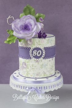 Lilac vintage cake with a wafer paper rose