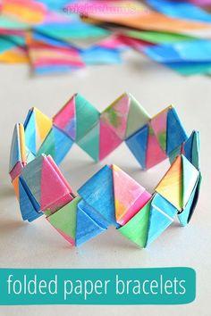 19 Easy to Make Summer Crafts for Kids - Folded paper bracelets