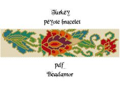 Peyote bracelet pattern made with Miyuki Delicas 11 whose colours you can easily change to any kind of cylinder or seed beads size 11.  Width: 7cm/2,8 Length: 22cm/8,8 Colors:9 Stitch: peyote stitch SENDING / RECEIVING:  Instant Download! The file / link will be sent to your Etsy e-mail address.   YOU WILL RECEIVE: a big picture of the pattern in png, a Pdf file including: a bead legend pattern a word chart   This is a digital product. You can sell your ready made bracelets but the pattern…