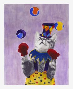 """The Juggling Cat Second in my """"Clown Cat"""" series. This guy is really good; even wearing those boxing gloves! Acrylic and mixed media on canvas - 8x10 inches."""