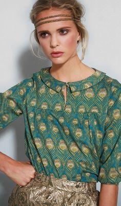 SALE Pixie's Peacock blouse XSmallReady made by Nadinoo on Etsy