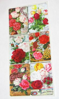 Items similar to Wonderful new Violette Victorian Childs Iowa seeds flowers labels roses stickers scrapbooking envelopes card making crafts decoupage art on Etsy Retro Floral, Iowa, Decoupage, Card Making, Collage, Gems, Victorian, Romantic, Scrapbook
