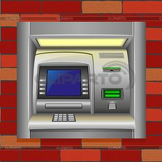 Банкомат в кирпичной стене   Векторный клипарт   ID 3138237 Atm, Secret Code, Office Phone, Brick Wall, Landline Phone, Cool Things To Buy, Coding, Crime, City