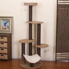 PetPals Group Clement Fleece Multi-Level Cat Tree With Rubber Massager & Perches, H Diy Cat Tree, Cat Trees, Cat Stairs, Modern Color Schemes, Wood Cat, Cat Condo, Large Baskets, Mdf Wood, Cat Furniture
