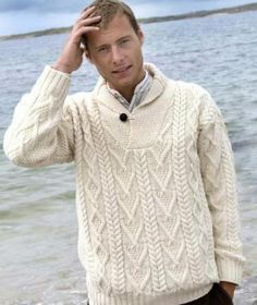 Shawl Collar Man's Irish Aran Sweater Ref: SH Made from Soft Merino Wool. This man's shawl collar cable knit sweater is knit using traditional knitting patterns from Ireland. Shawl Collar Sweater, Ribbed Sweater, Cable Knit Sweaters, Men Sweater, Irish Sweaters, Pullover Sweaters, Aran Knitting Patterns, Jumper Knitting Pattern, Aran Jumper